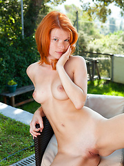 Redhead girl from Czech Republic exposes her nice hole and tits
