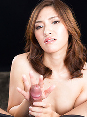 Desirable Asian stunner Natsuki Reina uses her hands in order to make a dick cum